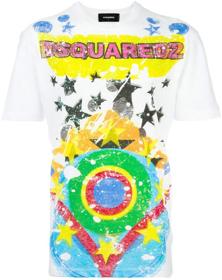 DSQUARED2 splatter star print T-shirt