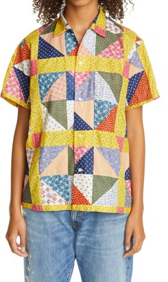 Bode One of a Kind Flying Geese Patchwork Bowling Shirt