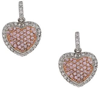 La Preciosa Sterling Silver Pink and White Cubic Zirconia Heart Earrings