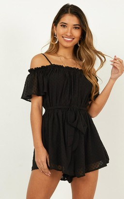 Showpo A Trick of Light Playsuit in black - 6 (XS) Off The Shoulder