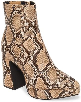 Jeffrey Campbell Dormant Snake Print Block Heel Boot