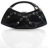 Christian Dior Black Leather Buckle Strap Detail Metal Handle Clutch Handbag