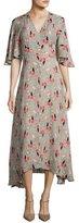 Derek Lam 10 Crosby Short-Sleeve Printed Silk Midi Dress, Pumice
