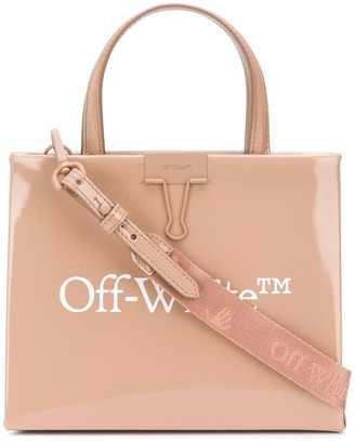 Off-White Patent Leather Square-Style Tote