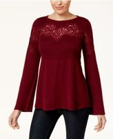 Style&Co. Style & Co Lace-Accent Babydoll Sweater, Created for Macy's