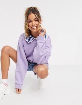 Daisy Street oversized sweatshirt with gingham collar