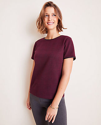Ann Taylor Faux Leather Trim Plaid Tee