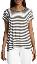Liz Claiborne Short Sleeve Crew Neck Stripe T-Shirt-Womens
