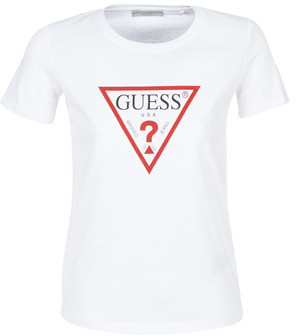 GUESS SS CN BASIC TRIANGLE TEE women's T shirt in White