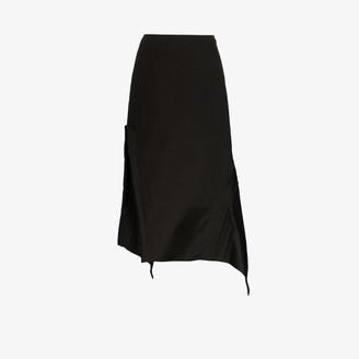Jil Sander pleated detail asymmetric midi skirt