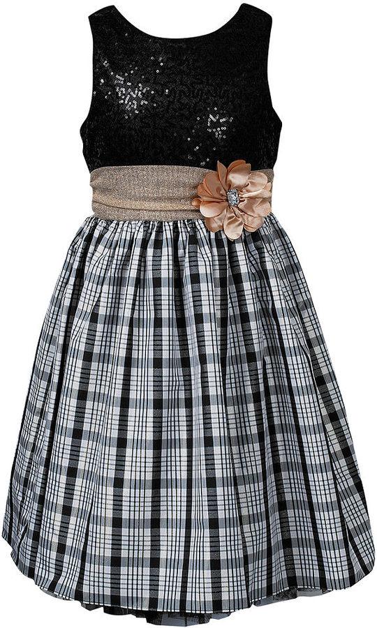 Sweet Heart Rose Girls Dress, Girls Sequin-to-Plaid Occasion Dress