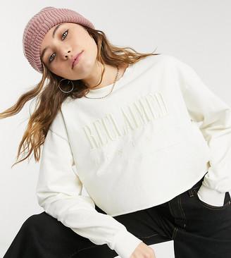 Reclaimed Vintage inspired cropped logo embroidery sweatshirt in ecru