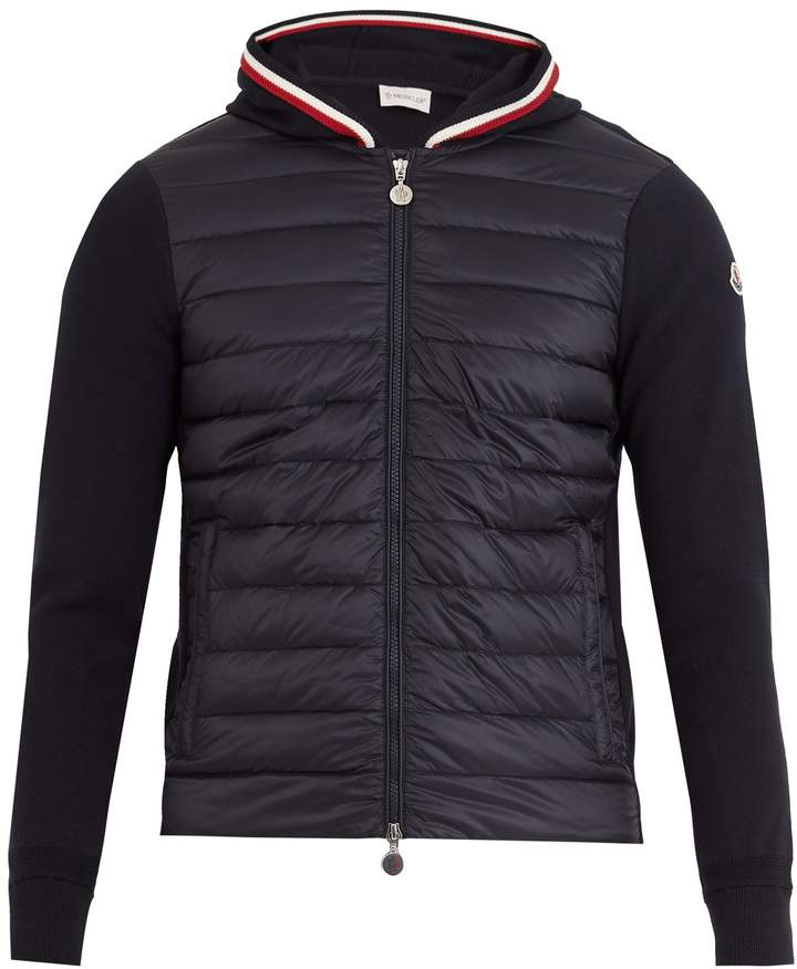 Moncler Hooded cotton-jersey and shell down jacket