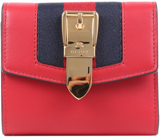 Gucci Hibiscus Red Calfskin Leather Sylvie Wallet, Never Carried