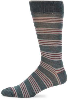 Saks Fifth Avenue Made In Italy Quad Stripe Wool Blend Socks