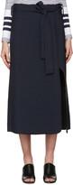 Rosetta Getty Navy Belted Wrap Skirt