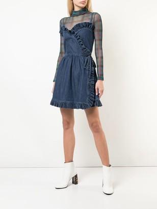 Ruffled Denim Mini Dress Blue