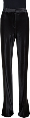 Roberto Cavalli Black Satin Flared Pants L