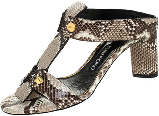 Tom Ford Multicolor Python Leather T-Strap Open Toe Slide Sandals Size 37.5