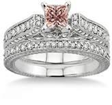 JeenJewels 2 Carat Morganite & Diamond 2.10 Carat Morganite & Diamond Antique Bridal Set Engagement Ring on 10k White Gold