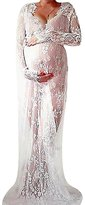 US&R, Women's Long Sleeve See Through Lace Deep Wavy Neck Maternity Maxi Dress, 8 ,Manufacturer(XL)