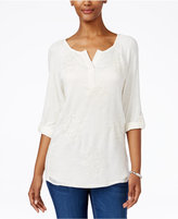 Style&Co. Style & Co. Embroidered Split-Neck 3/4 Sleeve Top, Only at Macy's