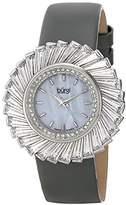 Burgi Women's BUR114GY Swiss Quartz Crystal Accented Mother-of-Pearl Silver Grey Leather Strap Watch