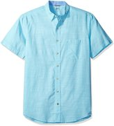 Izod Men's Big and Saltwater Dockside Chambray Solid Short Sleeve Shirt