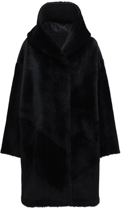 Liska Reversible Fur Long Coat W/ Hood