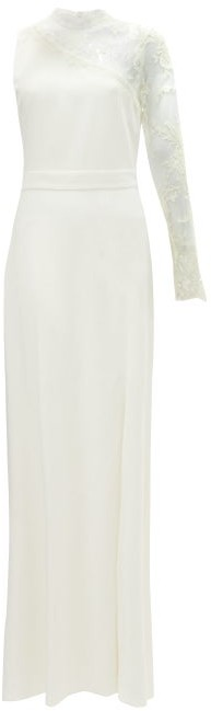 Alexander McQueen One-shoulder Lace-trimmed Crepe Gown - Ivory