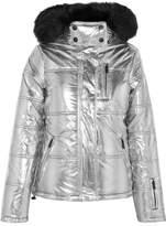 Topshop Sno Rio Hooded Faux Fur-trimmed Metallic Ski Jacket
