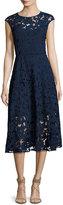 Shoshanna Cap-Sleeve Floral Lace Midi Dress, Blue