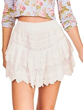 LoveShackFancy Emilia Cotton Embroidered Mini Skirt