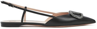 Valentino VLogo black slingback leather flats