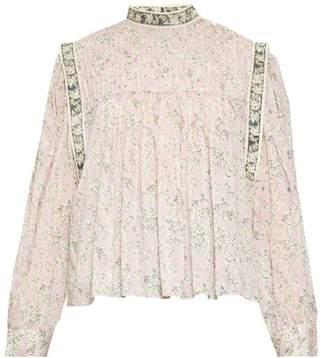 Etoile Isabel Marant Vega High-neck Floral-print Blouse - Womens - Pink Multi