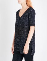 St. John Pranay sequin-detail tweed top