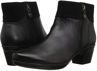 Clarks Emslie Twist (Black Leather/Suede Combination) Women's Shoes