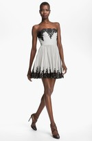 Robert Rodriguez Strapless Lace Applique Dress