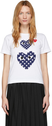 Comme des Garcons White Polka Dot Double Heart T-Shirt