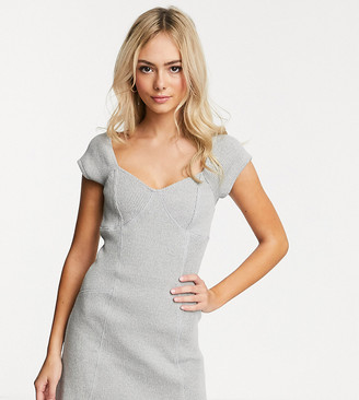 Another Reason square neck mini dress with contrast seams in chunky rib-Gray