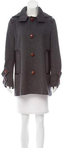 DSQUARED2 Leather-Trimmed Wool Coat