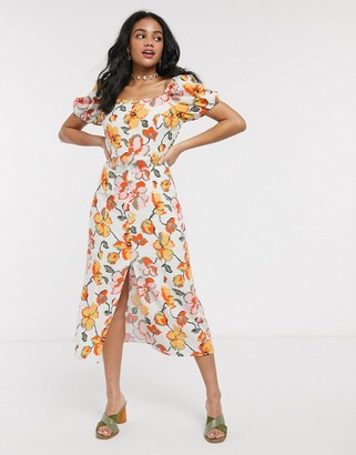 Moon River floral puff sleeve midi dress with perspex belt in red multi