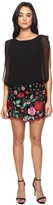 Aidan Mattox Blouson Cocktail Dress with Multi Colored Embroidered Floral Lace Skirt