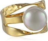 Majorica Pearl Gold Vermeil Ribbon Ring