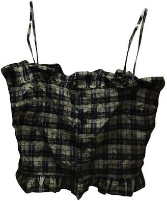 Ganni Khaki Cotton Top for Women