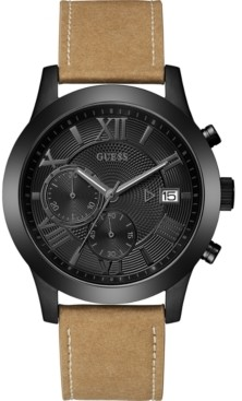 GUESS Limited Edition Men's Tan Strap Watch 45mm