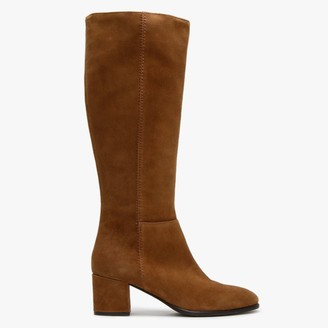 Lamica Tan Suede Low Block Heel Knee Boots