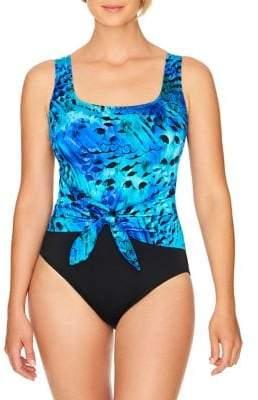Longitude Feathered Self-Tie One-Piece Swimsuit
