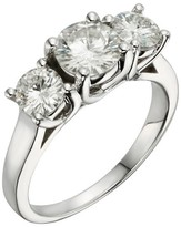 2.00 CT. T.W. Round Forever Brilliant® Moissanite Three Stone Prong Set Ring in 14K White Gold