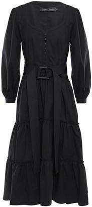 Proenza Schouler Belted Stretch Cotton-poplin Midi Dress